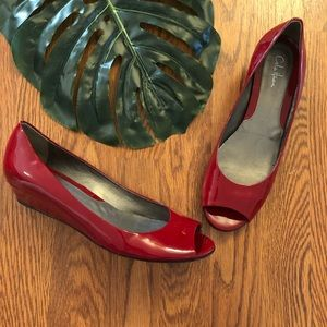 Cole Haan Nike Air Red Patent Peep Toe Wedges 8.5